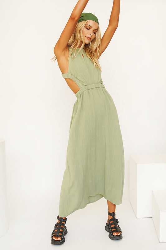 Talk To You Open Back Midi Dress // Sage