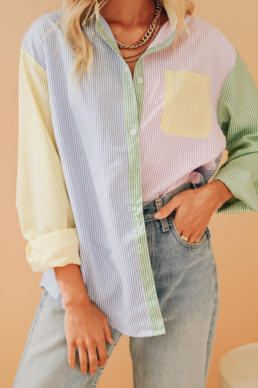 Be Bright Button Front Shirt // Stripe