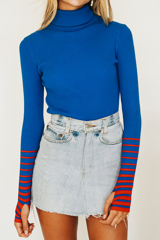 Classic Chic Ribbed Knit Top // Cobalt
