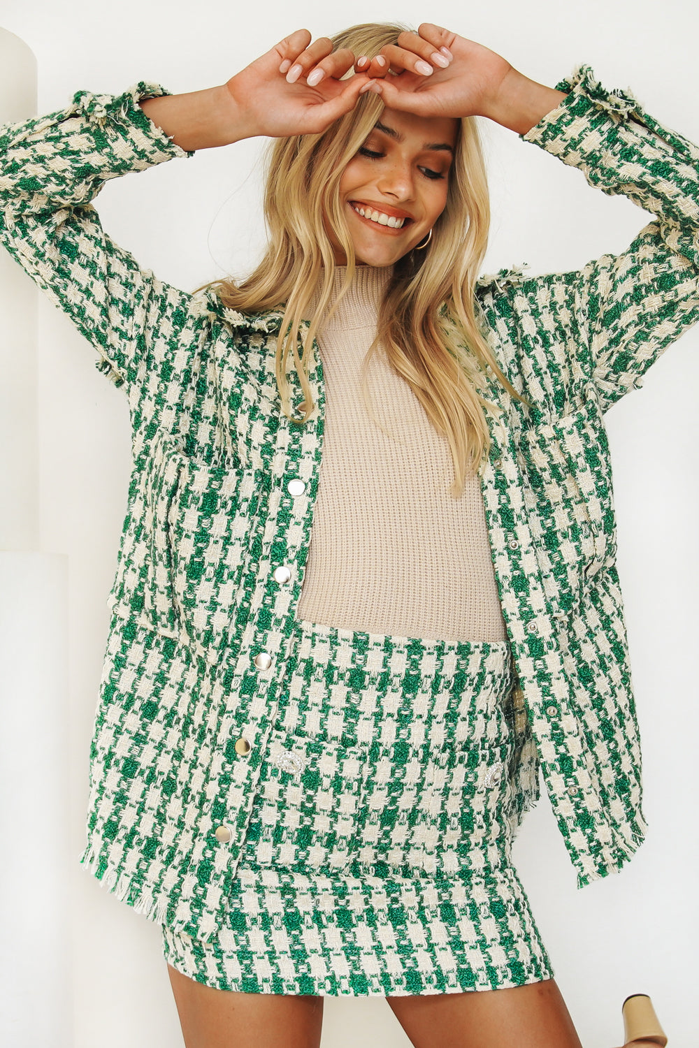 French Press Check Jacket // Green