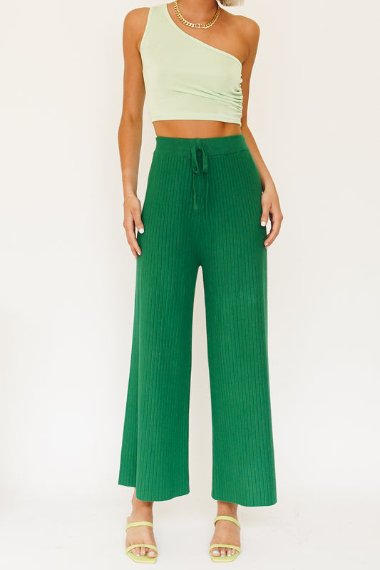 Call Me Ribbed Knit Pants // Green