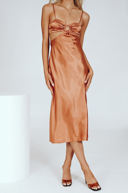 VRG GRL Going Places Bias Cut Midi Dress // Tan