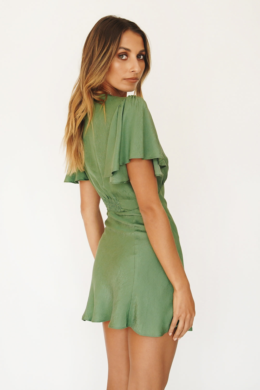 VRG GRL All The Way Bias Cut Mini Dress // Green