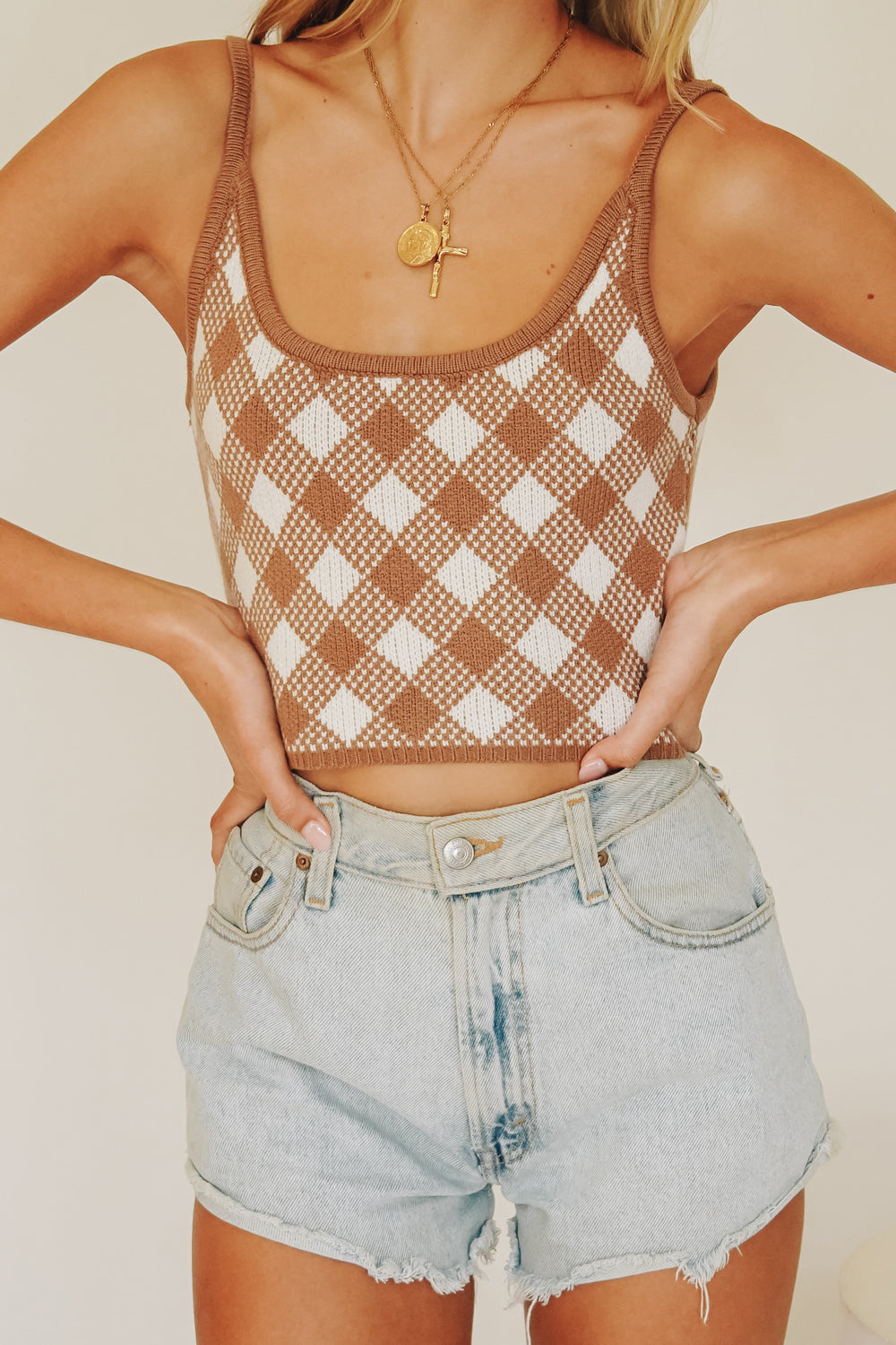 Manhattan Streets Check Knit Cami // Mocha