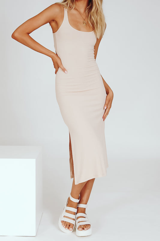 A Beautiful Mind Ribbed Midi Dress // Nude