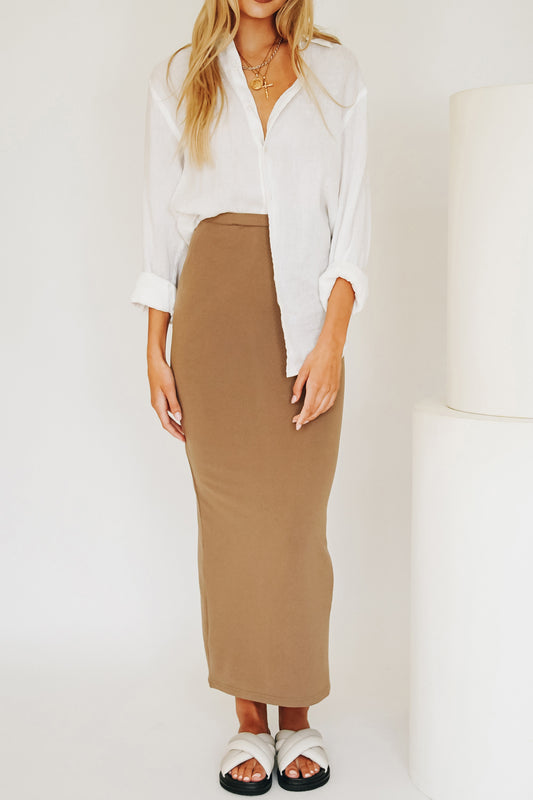 VRG GRL She's All That Knit Midi Skirt // Mocha