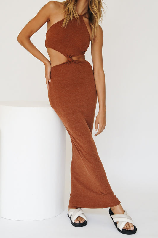 New Season Halter Midi Dress // Chocolate