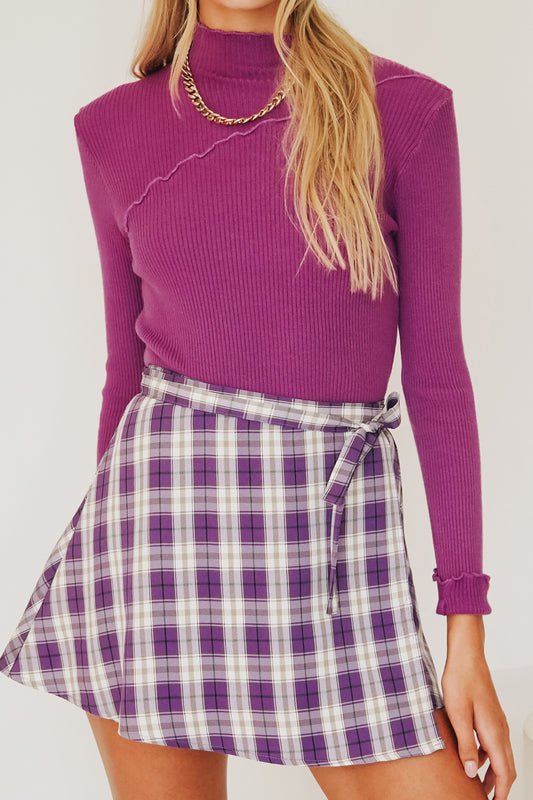 VRG GRL 90's Cool Wrap Mini Skirt // Purple