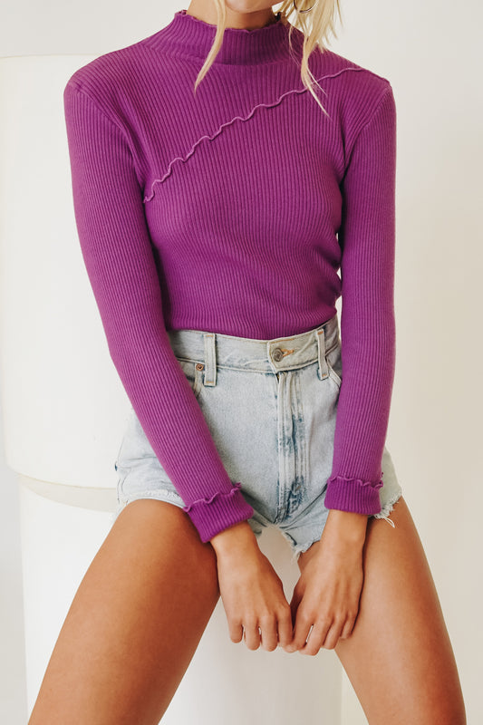 Creative Direction Ribbed Knit Top // Grape