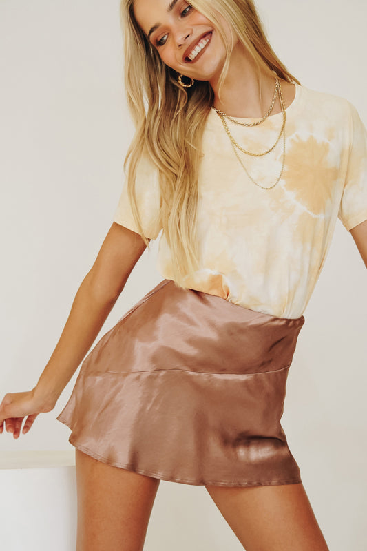 VRG GRL Golden Light Bias Cut Mini Skirt // Mocha