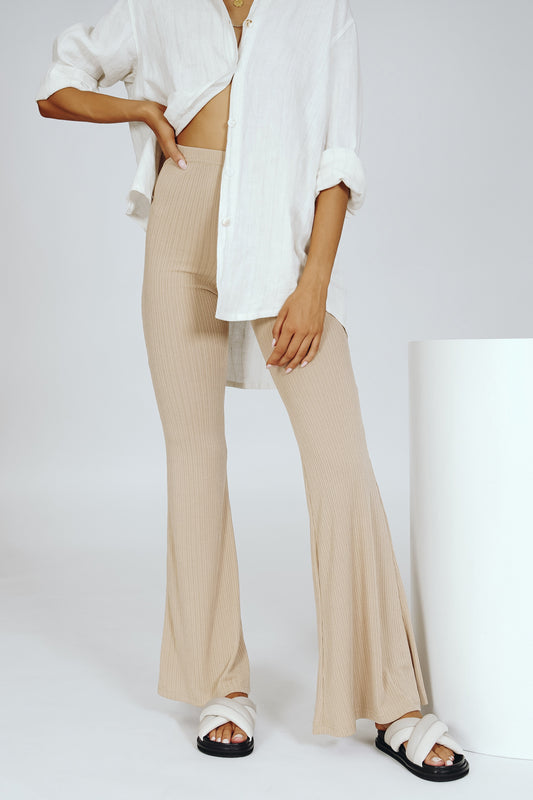 VRG GRL Light My Fire Ribbed Flares // Natural