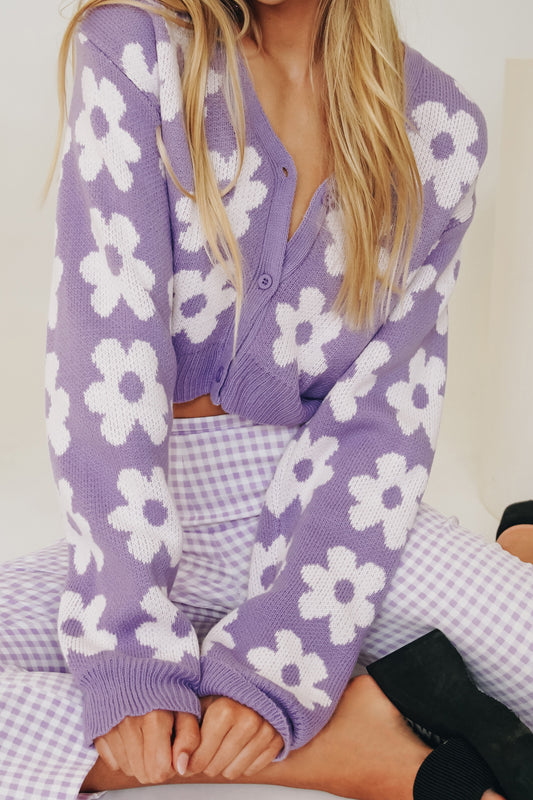 Hearts Content Knit Cardigan // Lilac