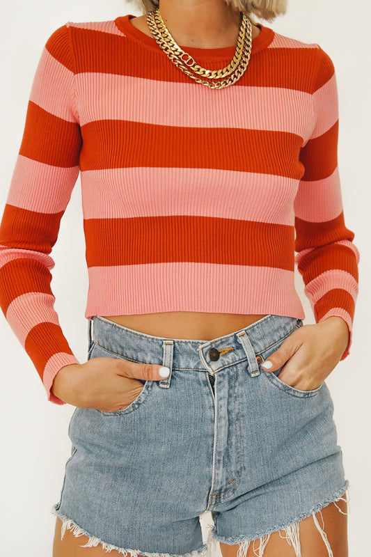 French Inspired Ribbed Knit Top // Pink