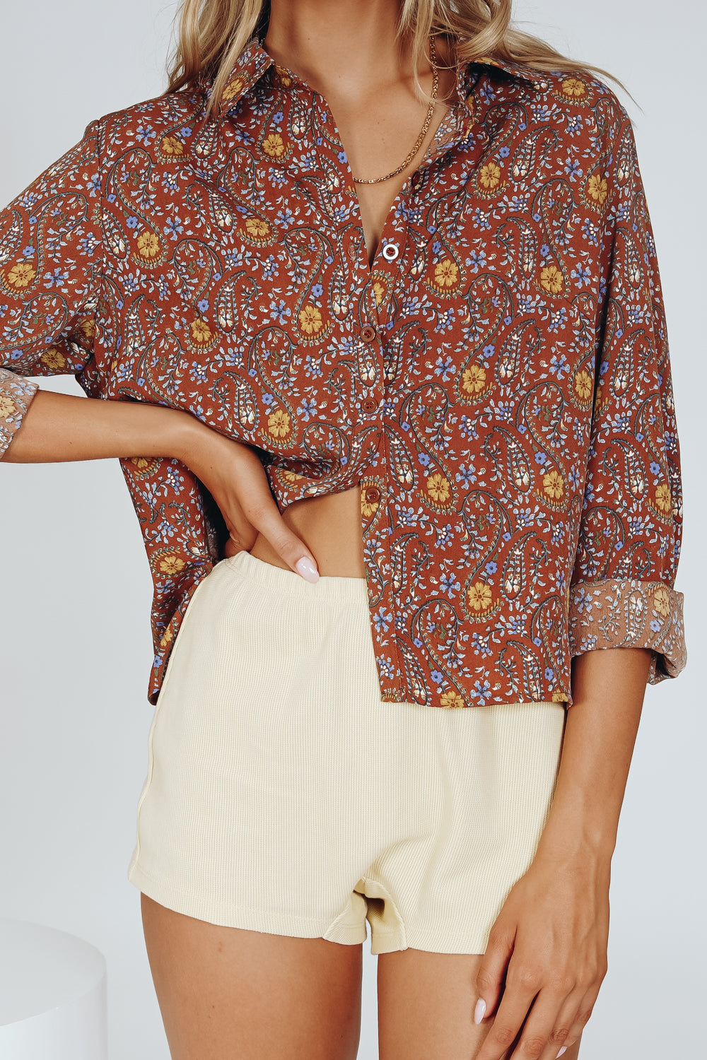 Back To Woodstock Button Front Shirt // Paisley