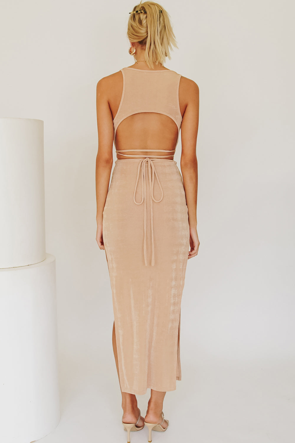 Fashion Shoot Tie Back Midi Dress // Nude