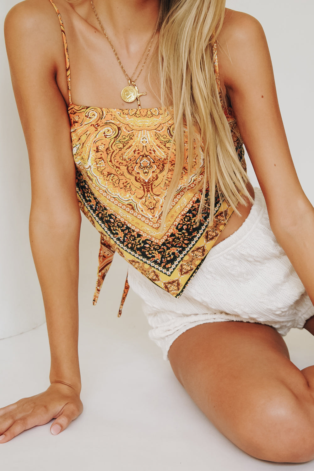Sunkissed Moment Tie Back Top // Mustard