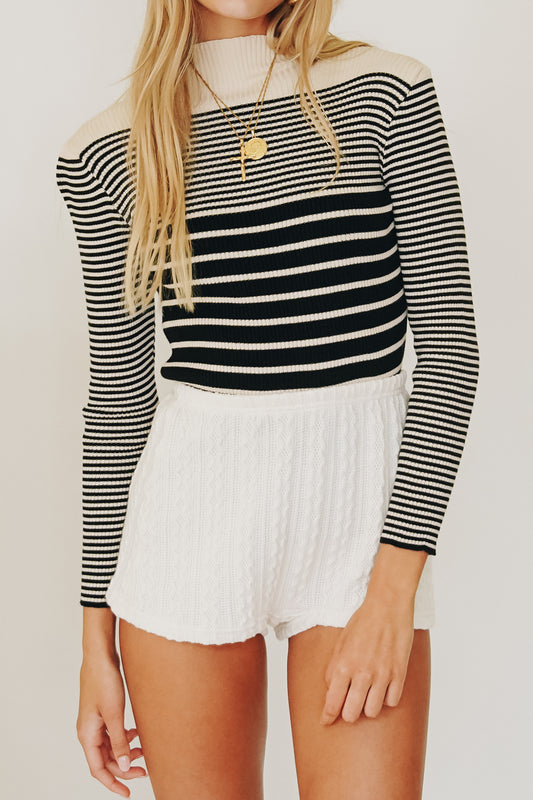 Full Scope Ribbed Knit Top // Stripe