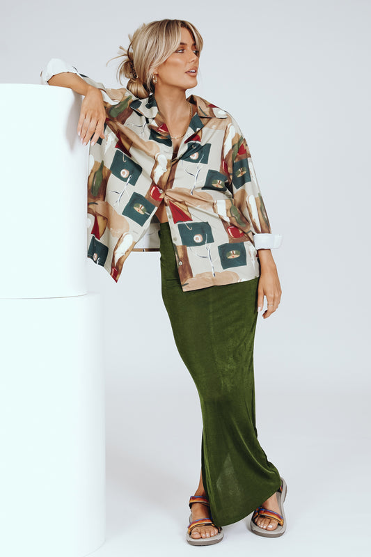 She Roams Button Front Shirt // Print
