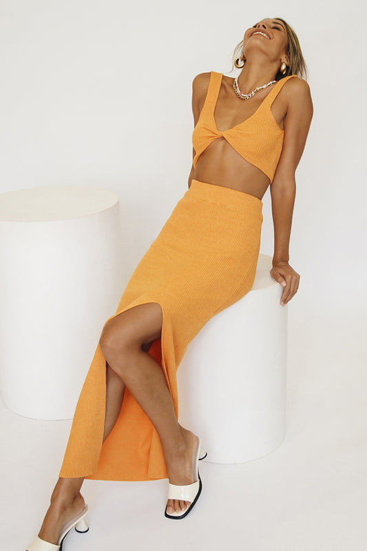 Island Escape Knit Midi Skirt // Orange