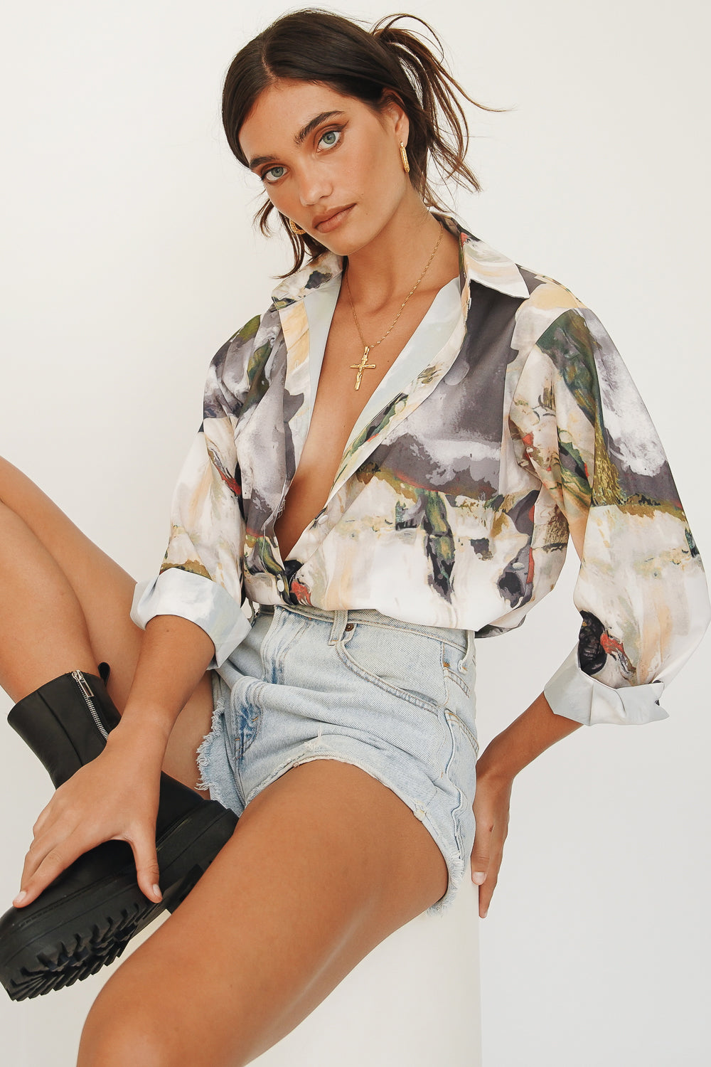 By The Time Button Front Shirt // Multi