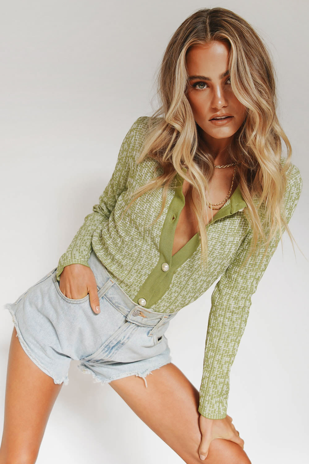Moment Of Passion Button Front Top // Green