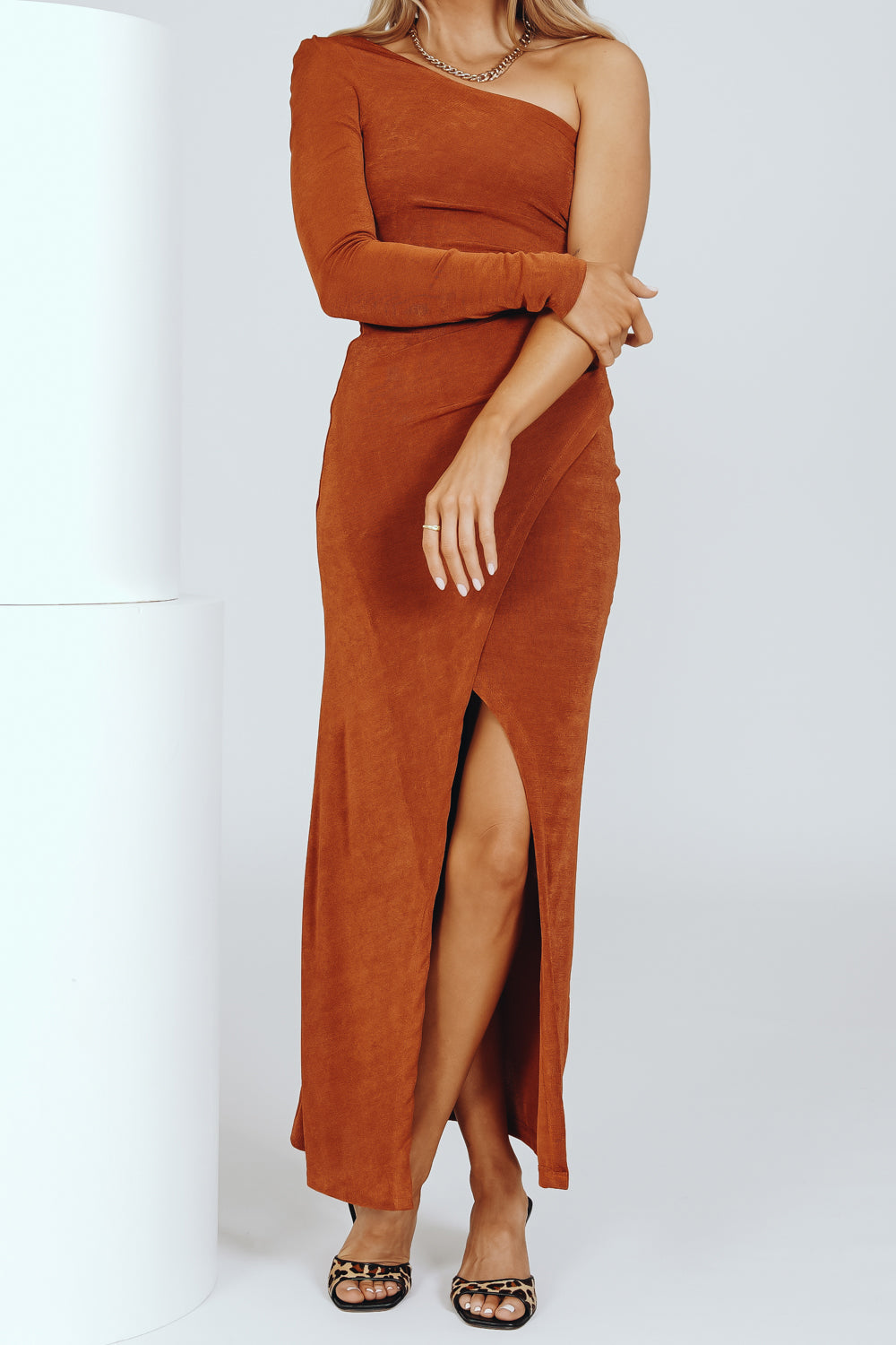 After Hours One-Shoulder Midi Dress // Rust