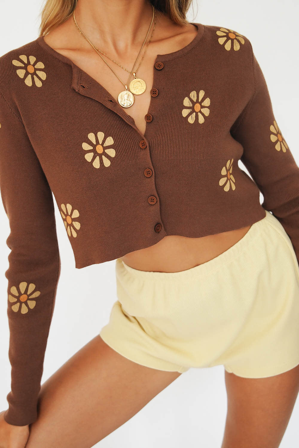 Look To The Sky Button Front Knit Top // Chocolate