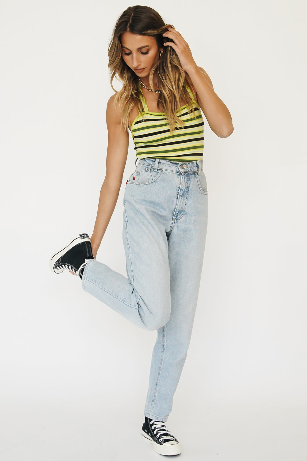 Summer Edit Ribbed Knit Top // Lemon