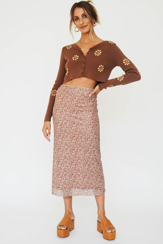 Spread The Love Mesh Midi Skirt // Floral