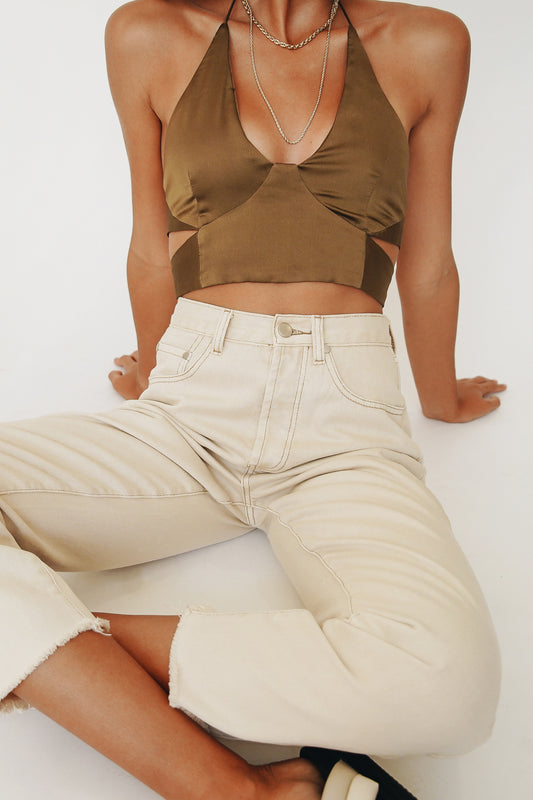 The Capsule Tie Back Halter Top // Khaki
