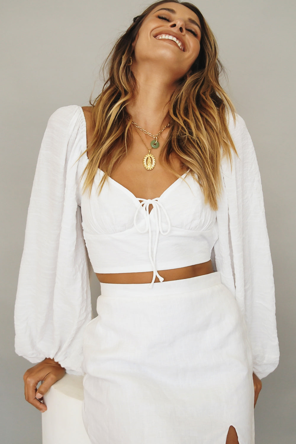 Tuscan Dreams Tie Back Top // White