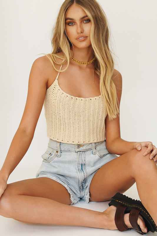 90's Femme Knit Top // White