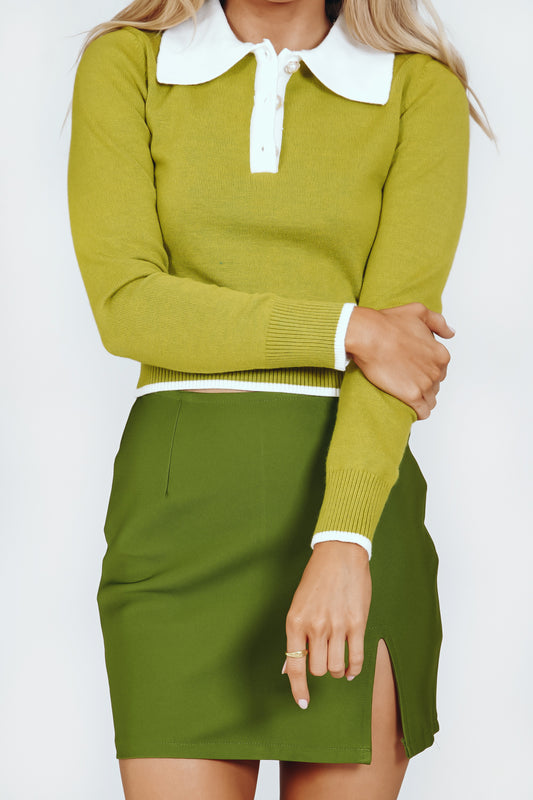 Less Conversation Knit Top // Lime