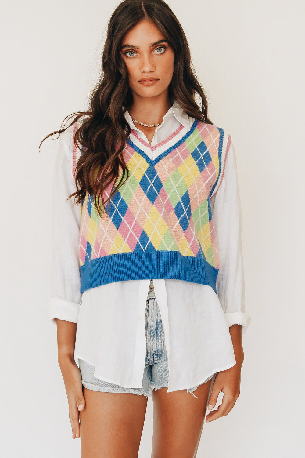 Trending Check Knit Vest // Multi