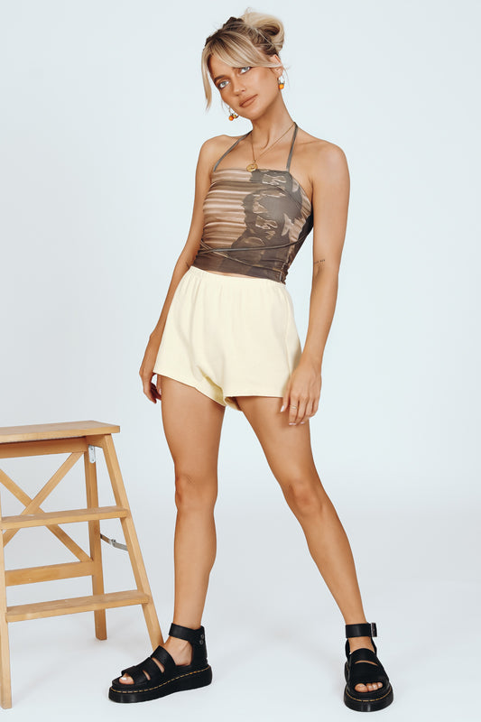 Wonder Years Halter Tie Top // Khaki