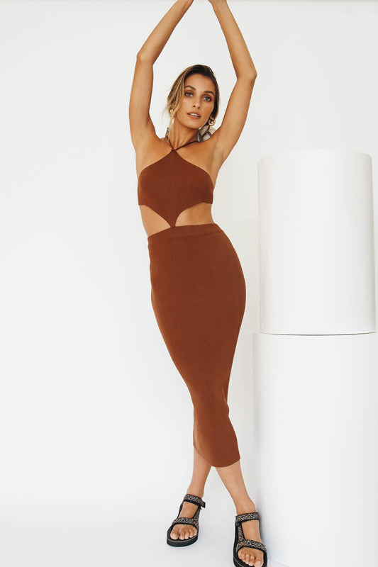 On Film Ribbed Knit Midi Dress // Chocolate