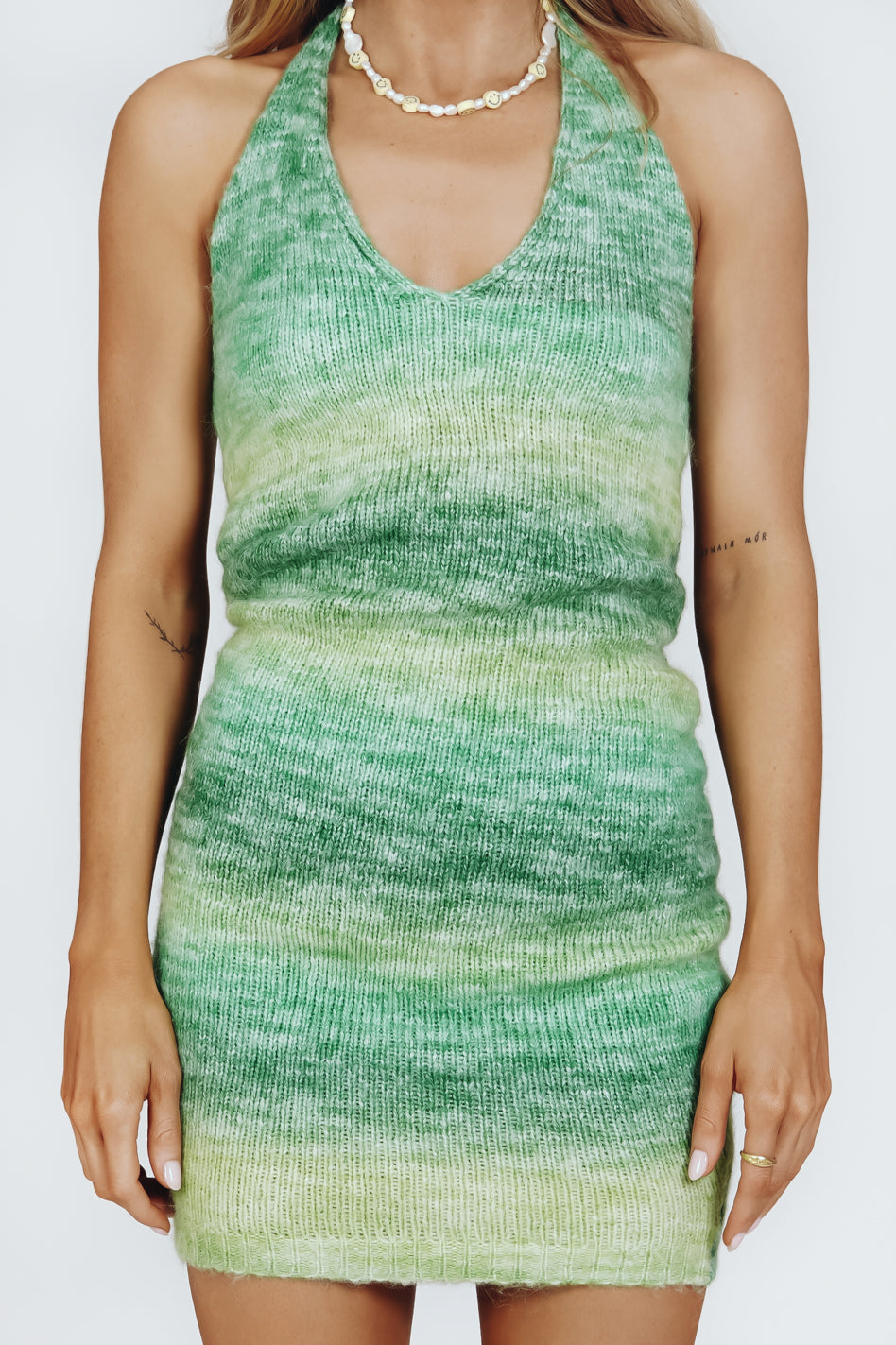 Summer Road Trips Knit Mini Dress // Green
