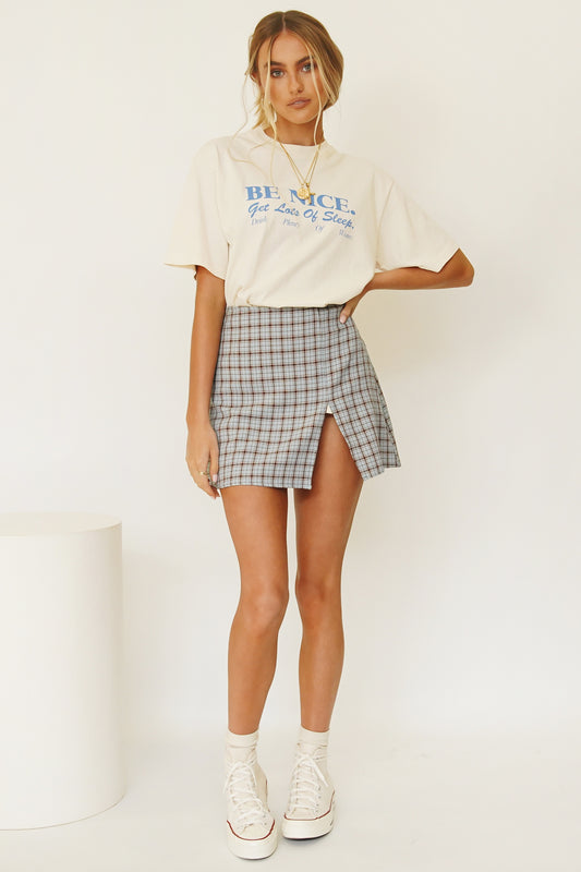 VRG GRL 90's Lifestyle Check Mini Skirt // Sky