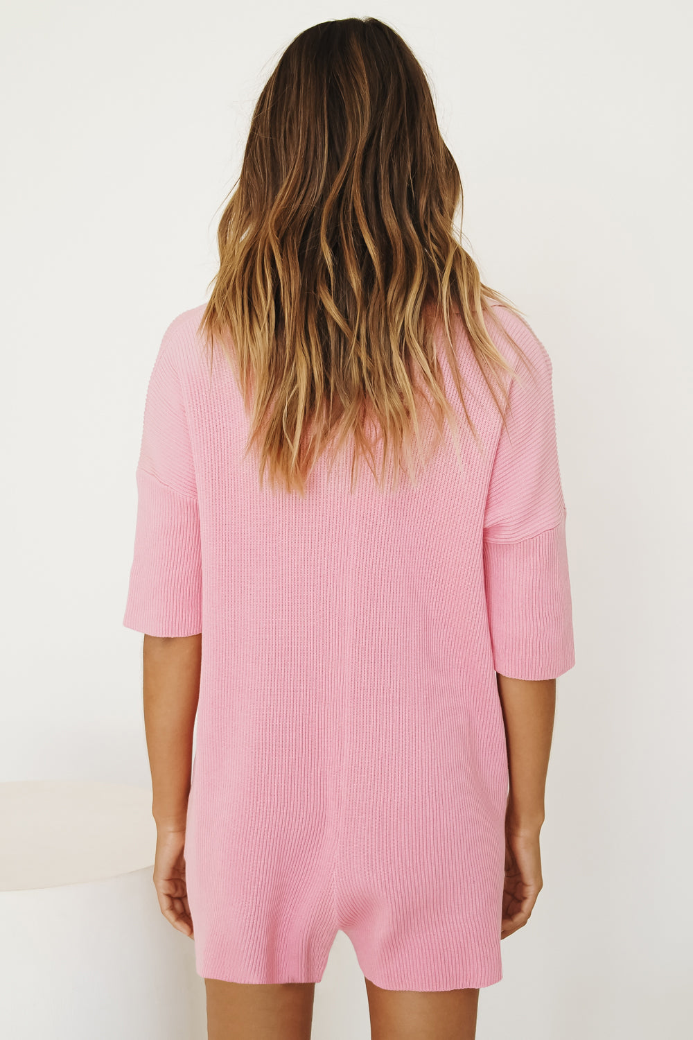Love Rules Ribbed Knit Playsuit // Pink