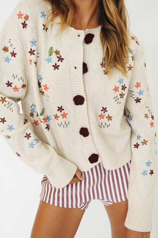 Born In The 80's Floral Knit Cardigan // Natural