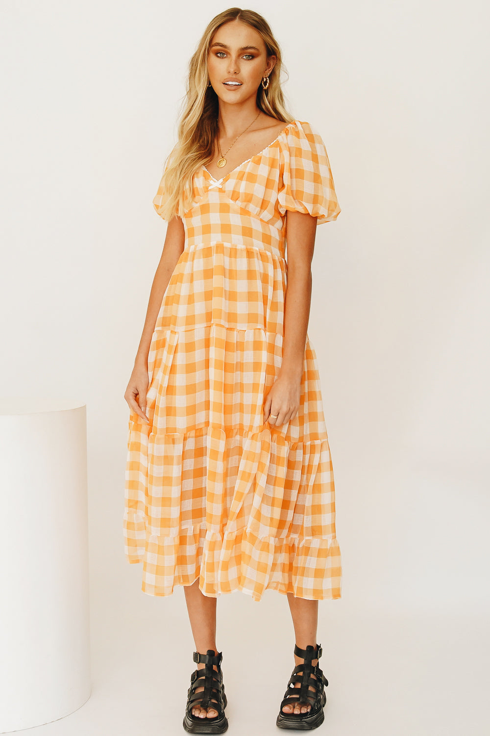 Golden Day Check Midi Dress // Orange