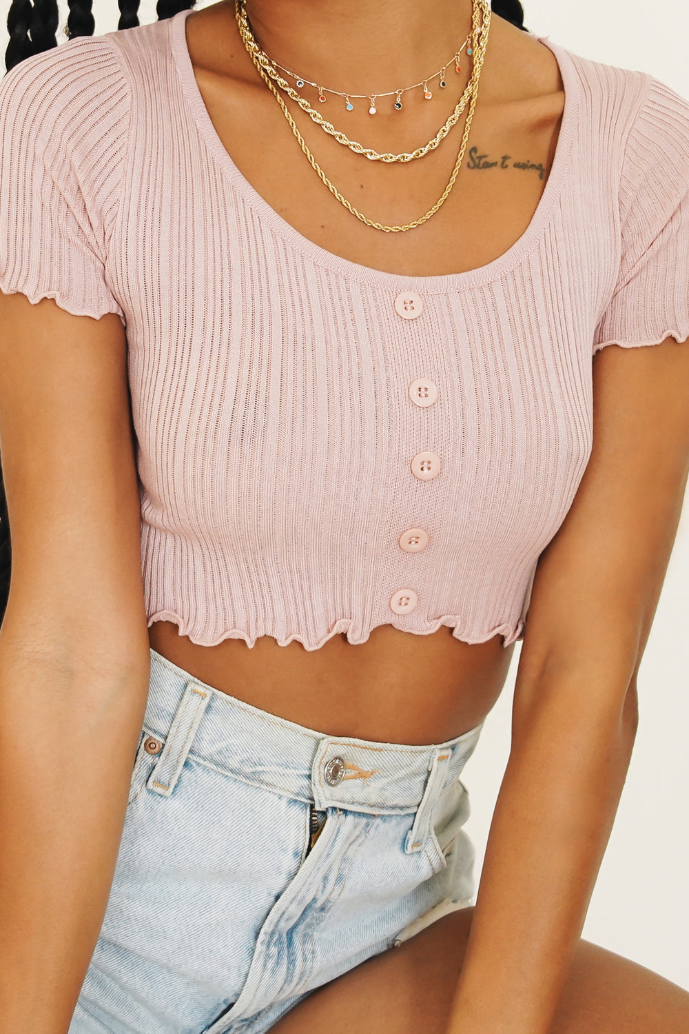 Caught On Film Button Front Knit Top // Rose