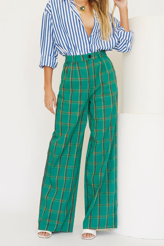 VRG GRL Fashion House Check Pants // Green
