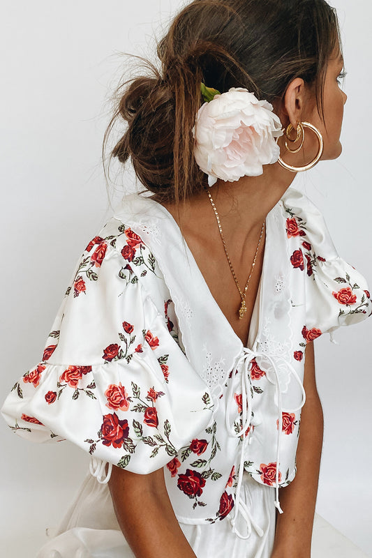 Romantic Desires Floral Top // White