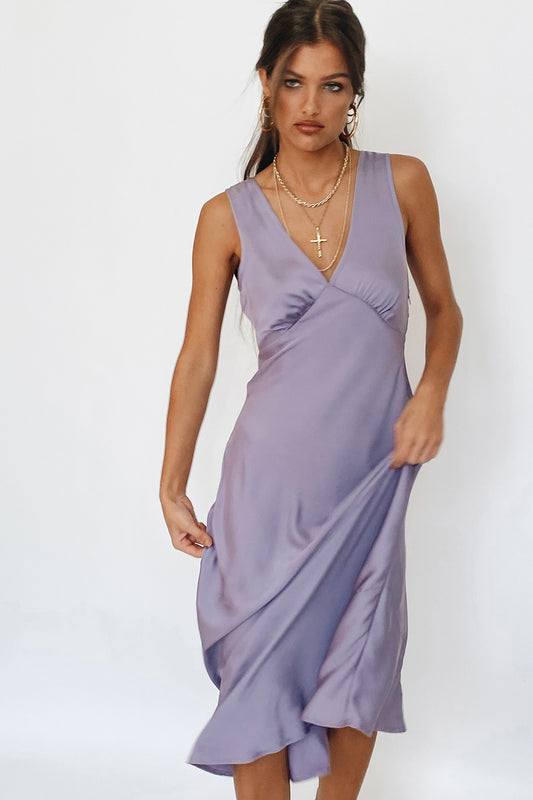 VRG GRL Wine At Sunset Bias Cut Midi Dress // Lilac