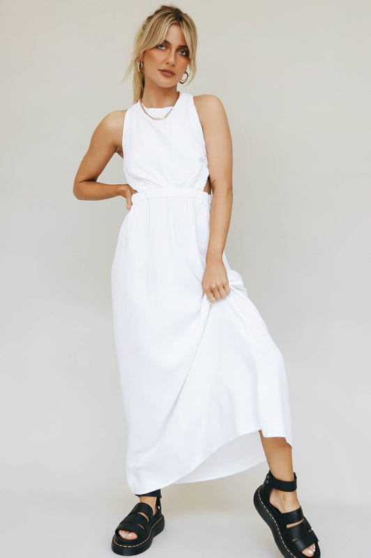 Talk To You Open Back Midi Dress // White
