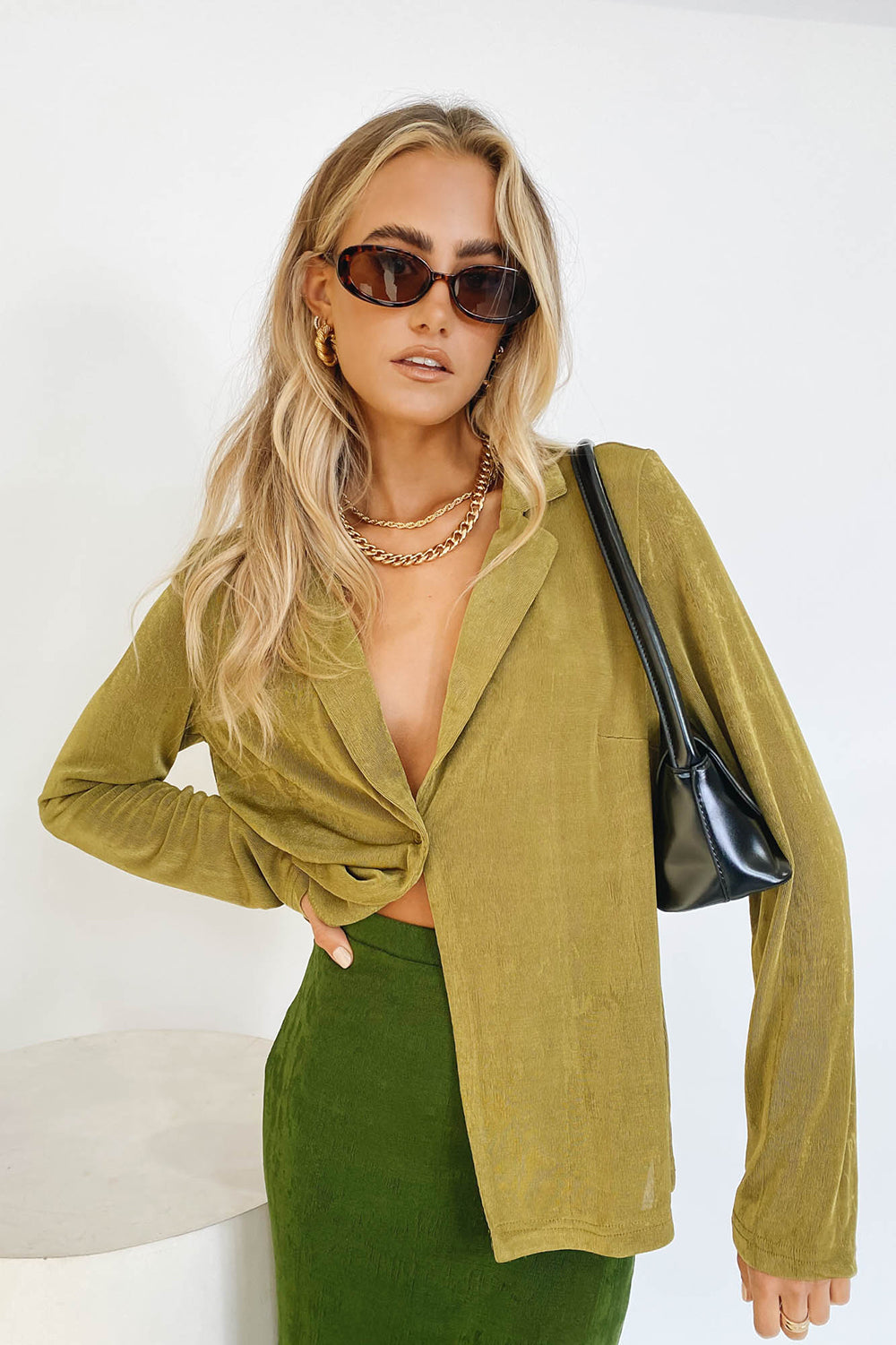 VRG GRL Check It Out Button Front Shirt // Olive