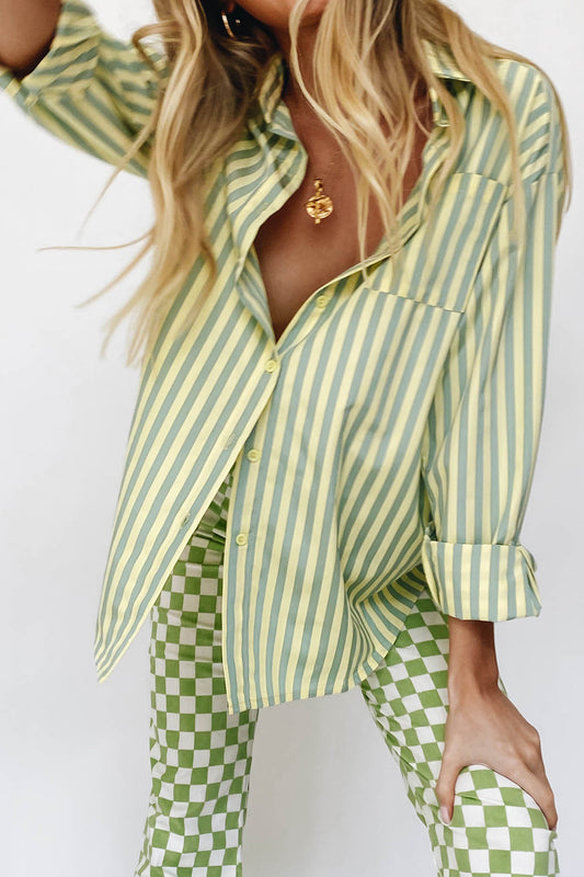 VRG GRL Beach Locals Button Front Shirt // Mint