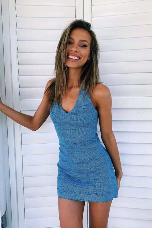 Beach House Knit Halter Mini Dress // Blue