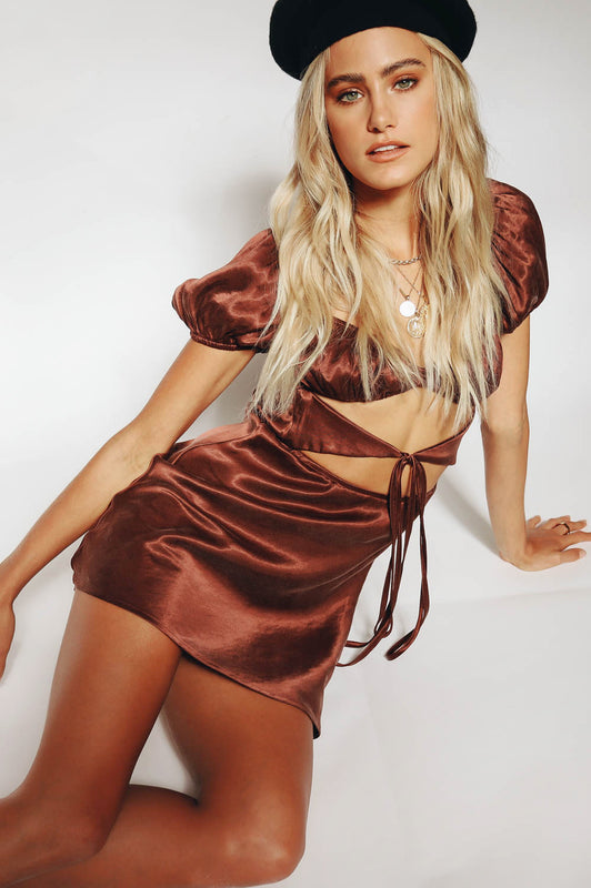 VRG GRL Au Revoir Bias Cut Mini Dress // Chocolate